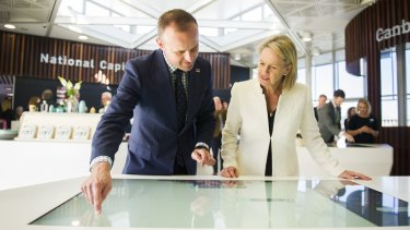 ACT Chief Minister Andrew Barr and the Federal Minister for Local Government and Territories, Fiona Nash inside the new visitor centre.