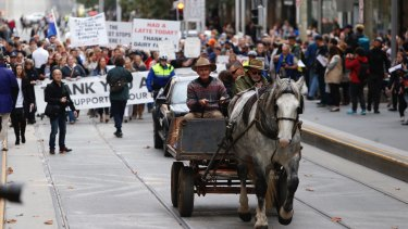 A horse-drawn cart  joined protesters on Wednesday.