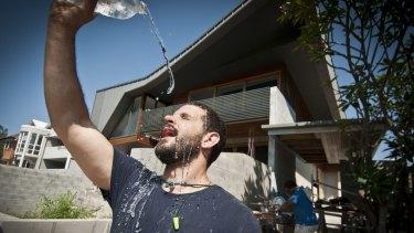 Carpenter Buddy Kirner cools off in Brisbane.