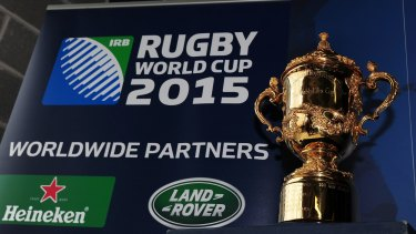 The William Webb Ellis trophy presented to the winner of the Rugby World Cup tournament.