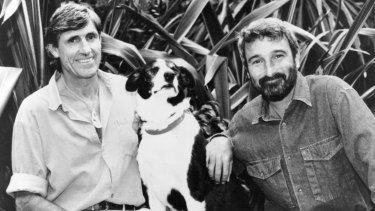 Don Burke, right, with the creator of Footrot Flats, cartoonist Murray Ball, 1993.