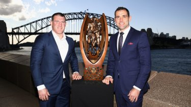 Sharks captain Paul Gallen and Storm counterpart Cameron Smith on Thursday.