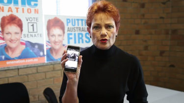 Pauline Hanson spruiks the Newzulu app in her video.