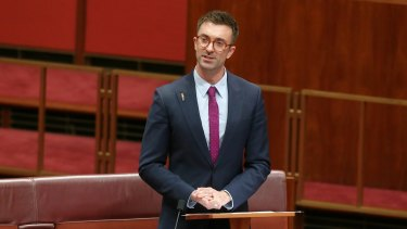 Greens senator Robert Simms delivers his first speech to the Senate on Tuesday.