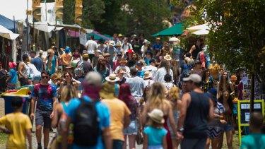 Crowds at last year's Woodford Folk Festival on the Sunshine Coast.