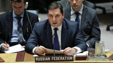 Russian Deputy UN Ambassador Vladimir Safronkov. Russia will reportedly not block sanctions.