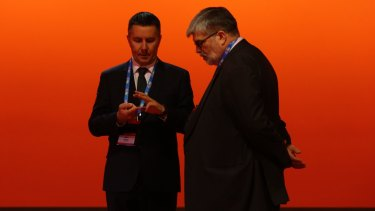 ALP President Mark Butler with Senator Kim Carr at the ALP National Conference in July 2015.