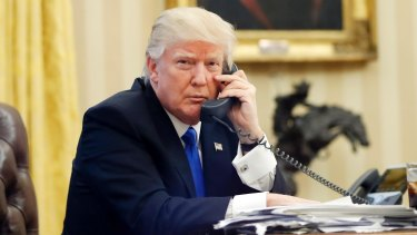 Donald Trump speaking to Malcolm Turnbull n the Oval Office of the White House.