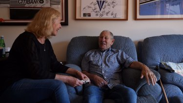 Keith Tremain, 81, talks with his daughter Sharon Bate in his serviced apartment at Glenaeon Retirement Village run by Lendlease in Belrose.
