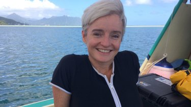 Hard-hitting science:  Professor Emma Johnston meets other scientists studying and testing coral species that might be bred to endure warmer ocean environments.