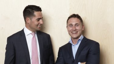 Working well: SpotJobs co-founders Lewis Romano (left) and Jake Williams.