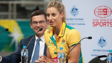 New deal: John Wylie and Laura Geitz at the announcement of the new netball competition.