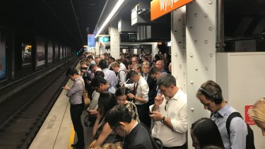 Commuters crowd platforms at Wynyard station.
