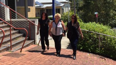 Relatives of Marie Darragh arrive at Lismore Supreme Court for the trial of nurse Megan Jean Haines.