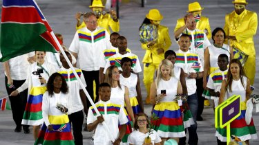 Namibia's flagbearer Jonas Junias leads his delegation during the opening ceremony of the Rio 2016 Olympic Games at the Maracana stadium on Friday.