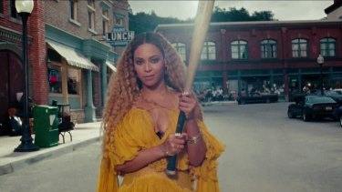 Came out swinging ... A still from Beyonce's music video Lemonade, which featured lyrics detailing a broken marriage and infidelity.