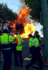 Moments after the road cutter erupted in flames in Neutral Bay.