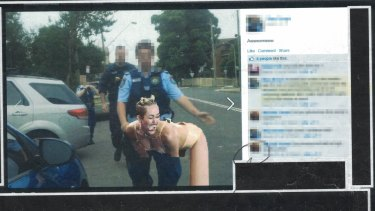 One of the offending posts, featuring pop star Miley Cyrus and a NSW officer, which was found by police during unlawful monitoring of a private Facebook page.