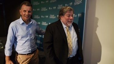 "Apple co-founder Steve Wozniak and Mr Constance at the ""Future Transport"" summit."