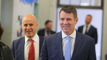 Premier Mike Baird and Education Minister Adrian Piccoli on a school visit last month.