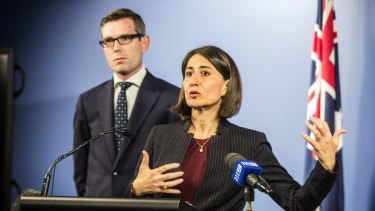 NSW Premier Gladys Berejiklian and Treasurer Dominic Perrottet announcing  that Hastings and First State have won the right to run LPI.