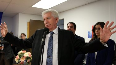 Bloc Quebecois Leader Gilles Duceppe speaks with supporters during a campaign stop in Gatineau, Quebec, on Friday.