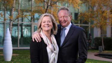 Philanthropists Andrew Forrest and his wife, Nicola, at Parliament House.