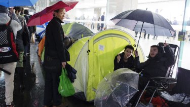 Excitement builds: punters in line for the new iPhone.