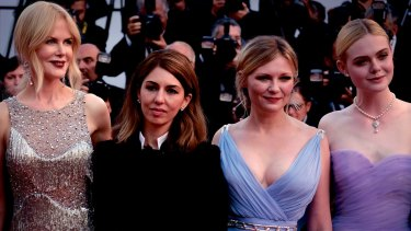 """From left, Nicole Kidman, Sofia Coppola, Kirsten Dunst and Elle Fanning at the Cannes Film Festival premiere of The Beguiled. Coppola said later she felt """"dorky""""."""