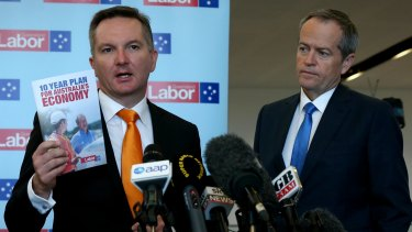 Shadow treasurer Chris Bowen and Opposition Leader Bill Shorten address the media with their budget plan.
