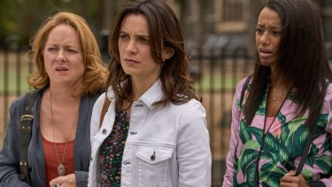 Mandy McElhinney, Jessica Tovery and Shalom Brune-Franklin in Nine's new drama, Bad Mothers.