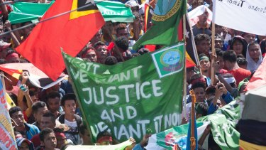 Protesters in Dili in March demanded that Australia negotiate over the Timor Sea boundary.