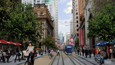 An artist's impression of the new light rail service down George Street at Martin Place.