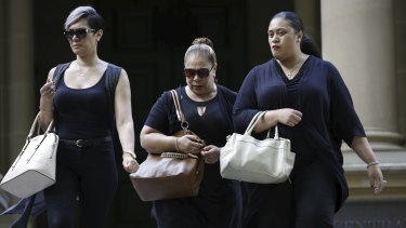 The family of Alo-Bridget Namoa with lawyer Sophie Toomey, left, outside Central Local Court in Sydney last month.