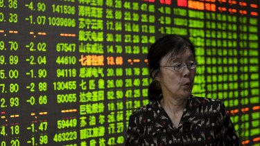 An investor at a brokerage house in Hangzhou, Zhejiang province, China.