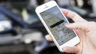 The Uber X app being used on an iPhone in Melbourne.
