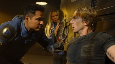 Some scenes – such as when Baker hopes that his new career will appeal to his estranged wife Karen (Kristen Bell, centre) – are downright baffling.