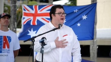 MP George Christensen addresses a Reclaim Australia rally in Mackay, Queensland.