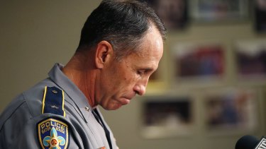Baton Rouge police chief Carl Dabadie Jr faces the media after the shooting.