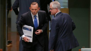 Tony Abbott and Malcolm Turnbull on the day of the Liberal leadership spill, in September 2015.