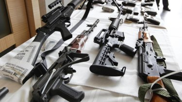 Come of the many guns confiscated by Chicago police.