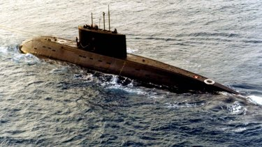 An older Russian-built, Kilo-class diesel submarine.
