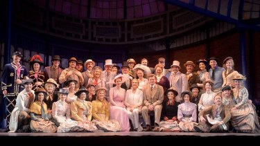 Julie Andrews pictured with the cast of My Fair Lady at QPAC.