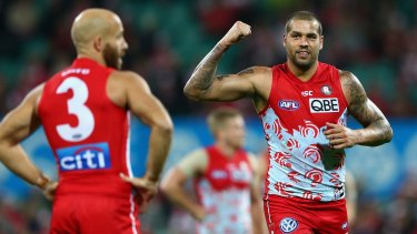 Good hit out: Lance Franklin of the Swans celebrates kicking a goal at the SCG.