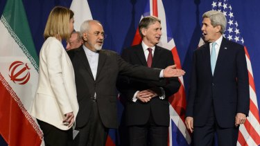 EU High Representative for Foreign Affairs Federica Mogherini, Iranian Foreign Minister Mohammad Javad Zarif, British Foreign Secretary Philip Hammond and US Secretary of State John Kerry line up for a press announcement in Lausanne, Switzerland, on April 2.