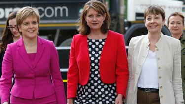 Caroline Lucas, far right, pictured with Scotland's First Minster Nicola Sturgeon, of the Scottish National Party, and Welsh Plaid Cymru Leader Leanne Wood. Ms Lucas has called for a 'progressive alliance' to defeat the ruling Conservative Party.