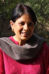 Professor Sonya Ghosh in the upmarket Delhi neighbourhood of Vasant Kunj, where she feeds 250 stray dogs a day.