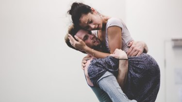 Christopher Rodgers-Wilson and Vivienne Wong in rehearsals for the Australian Ballet's production of <i>Infra</i>.