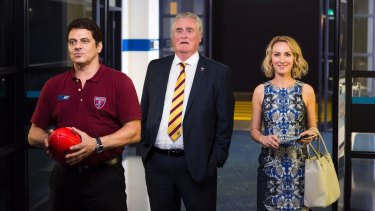 """Vince Colosimo as the coach, John Howard as the club president and Lisa McCune as the club """"mother""""."""