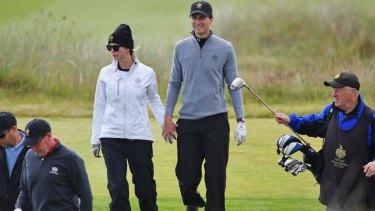 Ivanka Trump and her husband Jared Kushner play the Trump International Golf Links near Aberdeen, Scotland.